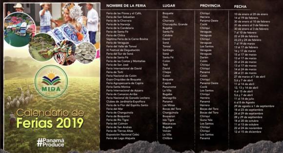 Calendario de Ferias en Panama 2019